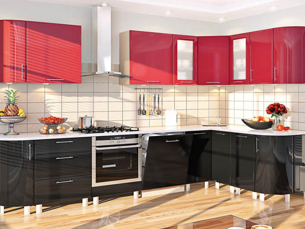 В красном цвете кухни