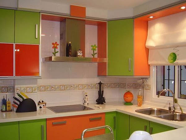 Кухня в оранжевом стиле дизайн 190