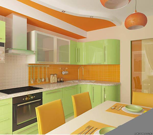 Оранжево зеленая кухня дизайн