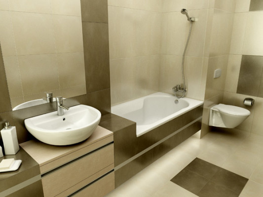 Продуманный дизайн: кафель на полу в ванной гармонирует не только по цвету, но и по форме